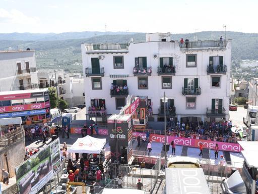 Il traguardo di Peschici del Giro d'Italia
